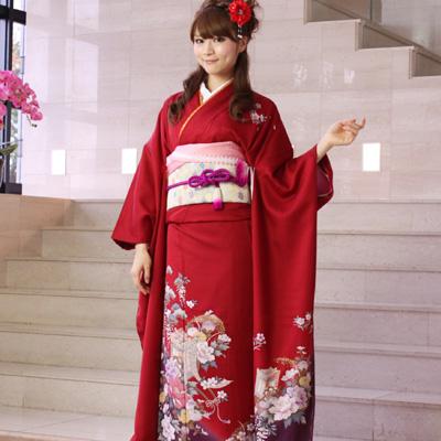 【レンタル】【最大20日間】 振袖 レンタル 成人式 セット正絹京友禅 20点フルセット「赤 レッド 紫 パープル 紅 牡丹 御所車」成人式から結婚式やフォーマルまで。 着物 kimono フリソデ ふりそで rental れんたる せいじんしき セイジンシキ