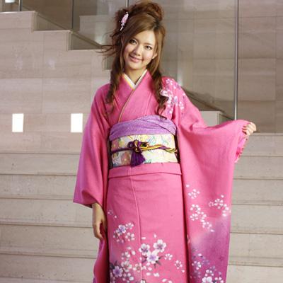 【レンタル】【最大20日間】 振袖 レンタル 成人式 セット正絹京友禅 20点フルセット 「ピンク 紫 パープル 桜」成人式から結婚式やフォーマルまで。 着物 kimono フリソデ ふりそで rental れんたる せいじんしき セイジンシキ