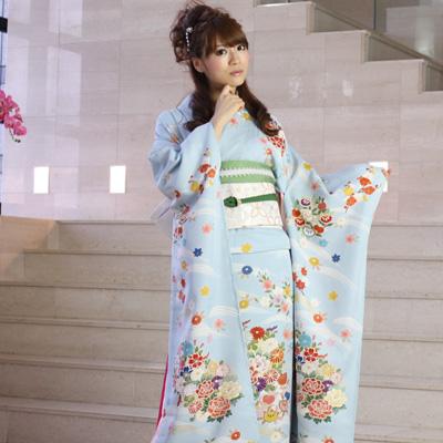 【レンタル】【最大20日間】 振袖 レンタル 成人式 セット正絹京友禅 20点フルセット 「青 ブルー 水色 牡丹 菊 金彩刺繍」成人式から結婚式やフォーマルまで。 着物 kimono フリソデ ふりそで rental れんたる せいじんしき セイジンシキ