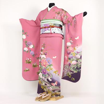 【レンタル】【最大20日間】 振袖 レンタル 成人式 セット正絹京友禅 20点フルセット 「ピンク 紫 パープル 牡丹 流水 藤の花 菊 蝶」成人式から結婚式やフォーマルまで。 着物 kimono フリソデ ふりそで rental れんたる せいじんしき セイジンシキ〔消費税込み〕