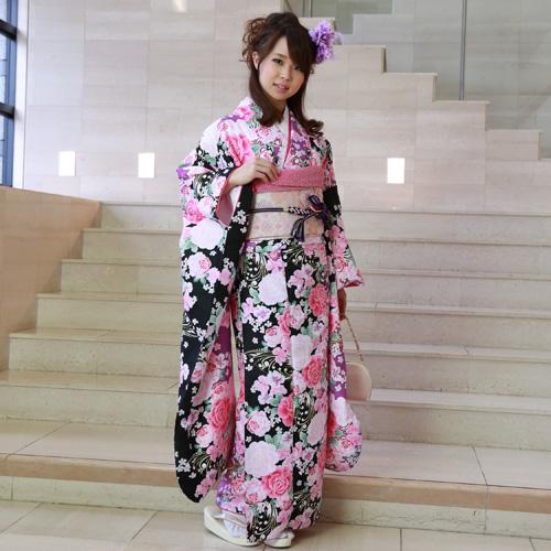 【レンタル】【最大20日間】 振袖 レンタル 成人式 セット 20点フルセット 派手 「黒 紫 バラ 桜 蝶 モダン」 成人式から結婚式やフォーマルまで。 着物 kimono フリソデ ふりそで rental れんたる せいじんしき セイジンシキ着物レンタル 貸衣装