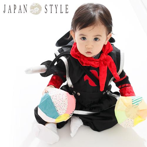 【レンタル】JAPAN STYLE 1歳 男の子 忍者 衣装 赤ちゃん ベビー 一歳 着物 衣装 和服 初節句 ハーフバースデー 誕生日 正月 端午の節句 こどもの日 百日祝い お食い初め