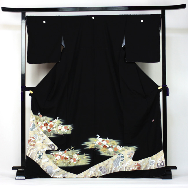 【レンタル】 留袖 レンタル 往復送料無料 着物 黒留 京友禅金彩 黒留袖 19点フルコーディネートセット 結婚式 rental とめそで kimono きもの