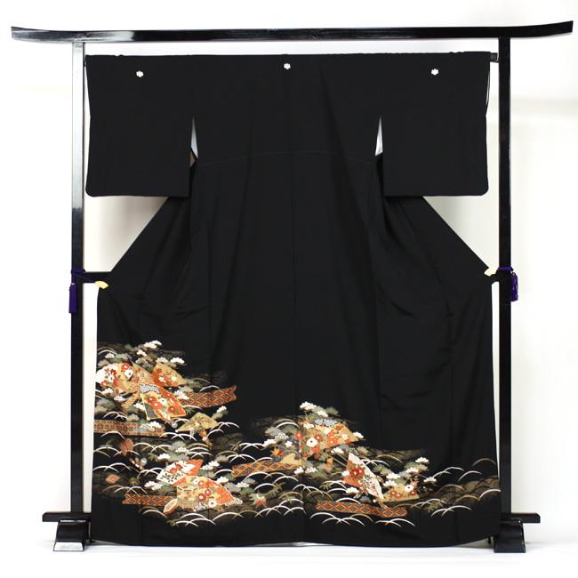 【レンタル】 留袖 レンタル 往復送料無料 着物 黒留 金彩友禅 黒留袖 19点フルコーディネートセット 結婚式 rental とめそで kimono きもの〔消費税込み〕