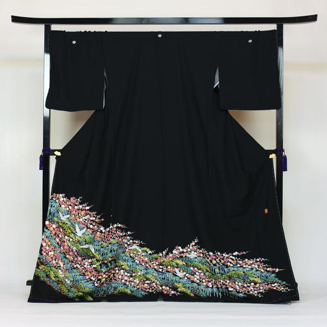 【レンタル】 留袖 レンタル 往復送料無料 着物 黒留 ゆとりサイズ 3L~4LL対応 京友禅・加賀調 黒留袖 19点フルコーディネートセット 結婚式 15号~17号対応 rental とめそで kimono きもの