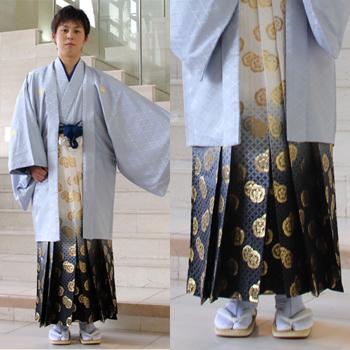 Cheap men's montsuki haori coat hakama rental 13 points set Quinceanera graduation wedding costumer montsuki haori coat hakama