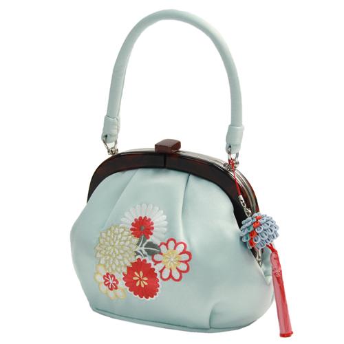 成人式 振袖用 がま口バッグ「水色地に丸菊刺繍」和装バッグ 成人式 バッグ 振袖 着物 和装 和服 花柄 ライトブルー レトロ