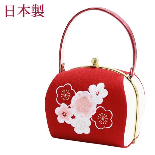 日本製 成人式 振袖用 合皮バッグ「赤地に梅刺繍」ちりめん 和装バッグ 成人式 バッグ 振袖 着物 和装 和服 花柄 レトロ〔zu〕