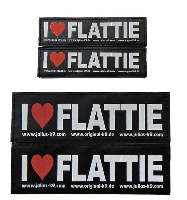 2枚1組 フラットコーテッドレトリバー ハーネス 犬  Julius-K9 ユリウスケーナイン IDCパワーハーネス用アクセサリ Special Velcro Label オリジナルスペシャルベルクロラベル(FLATTIE) I(ハート)FLATTIE フラット テープ マジックテープ サイズS サイズM [ネコポスまたはゆうパケット可能]