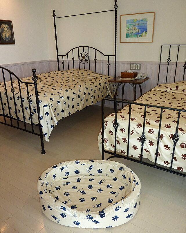 クイーンサイズのベッドカバー一重の綿100%【240cm×280cm】ゴールデンレトリバーのシルエットが可愛い ラリカンオリジナル