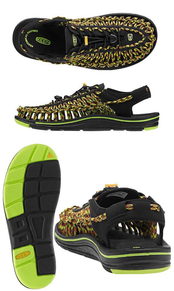 @ ・KEEN UNEEK[黑色/綠色輝光]基恩獨特的涼鞋人(男性用)_11510F(wannado)