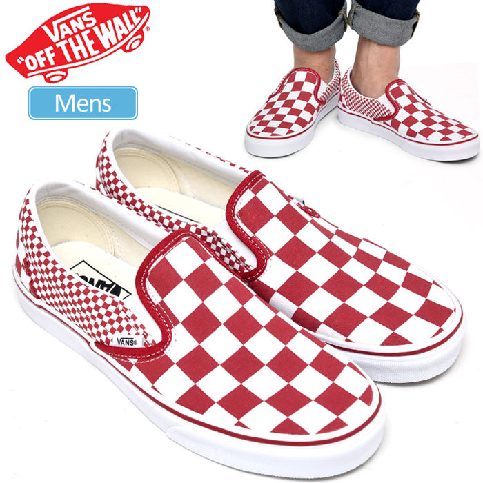 It is CLASSIC SLIP ON(MIX CHECKER) men's _snk_1901wannado _0101sale vans sneakers VANS classical music slip ons (mixture checker) [chili pepper]
