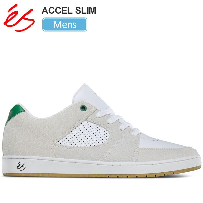 【正規取扱店】エス 'es スニーカー スケートシューズ メンズ アクセルスリム ホワイト グリーン 25-28cm ACCEL SLIM 20SS【靴】snk 2003wannado