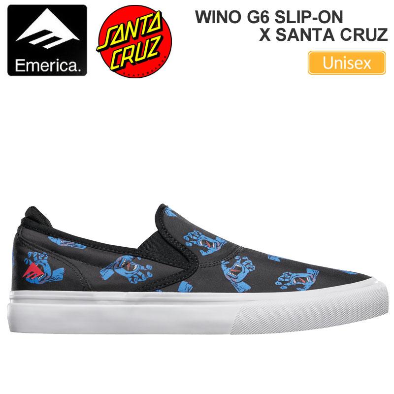 【正規取扱店】エメリカ EMERICA スニーカー スケートシューズ メンズ レディース ワイノG6スリッポン サンタクルーズ ブルー ブラック ホワイト 23-30cm WINO G6 SLIP-ON SANTA CRUZ 20SS snk【靴】2006wannado