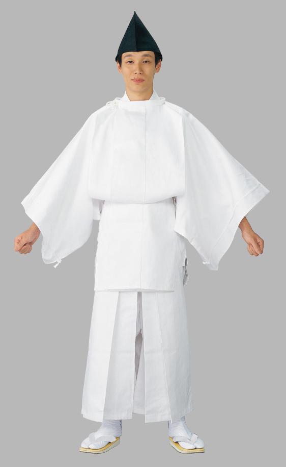 白丁衣装(白丁烏帽子付き)烏帽子・上衣・袴・腰紐セット