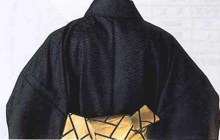袴下着物(男仕立)「黒サヤ型綸子生地」