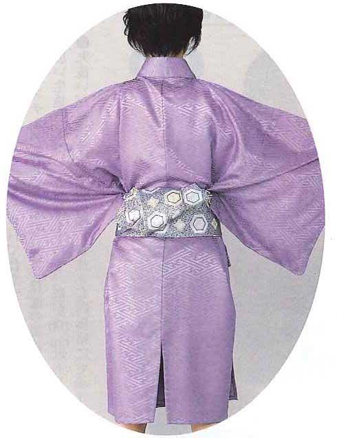 袴下着物(男仕立)「紫サヤ型綸子生地」