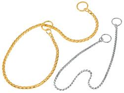 銀色スネークチェーン首輪35 ドッグショー使用シルバー 小型犬用(メール便) わんぱく【ラッキーシール対応】
