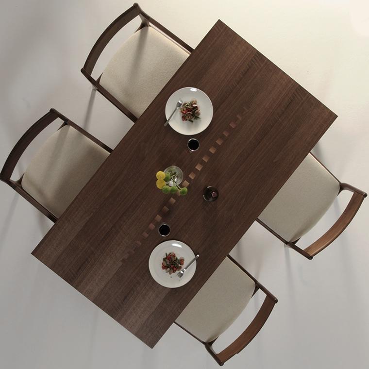 ダイニングテーブル 幅120cm~180cm 高さ65cm~74cm ウォールナット材 インレイ 食堂テーブル 北欧 和モダン デザイン デザイナー おしゃれ 人気 手作り diy 木製 天然木 日本製 国産 モダン ナチュラル シンプル 家具職人 家具メーカー