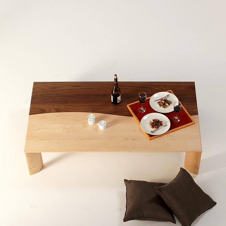 ローテーブル 幅120cm~幅180cm ウォールナット材 ハードメープル材 無垢材 リビングテーブル センターテーブル ソファーテーブル 和モダン 和風モダン 北欧 おしゃれ おすすめ 日本製 国産 デザイン デザイナー 木製 天然木 家具職人 diy 長方形 ナチュラル モダン