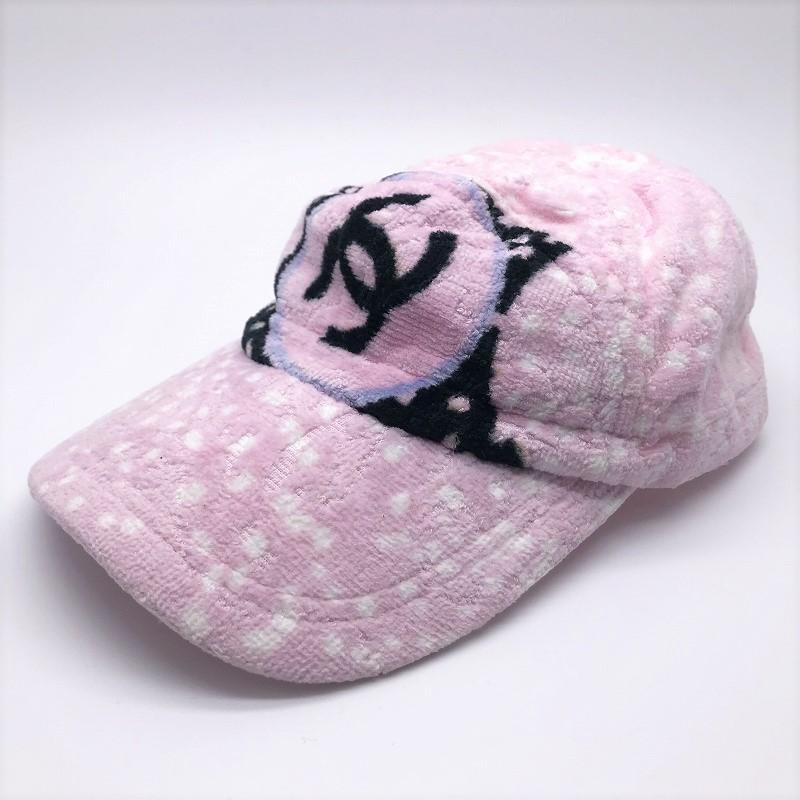 ◆[USED/美品]◆送料無料◆シャネル CHANEL :パイル地キャップ ピンク×ドット×ココマーク ベースボールキャップ/帽子(S)◆ 【中古】◆