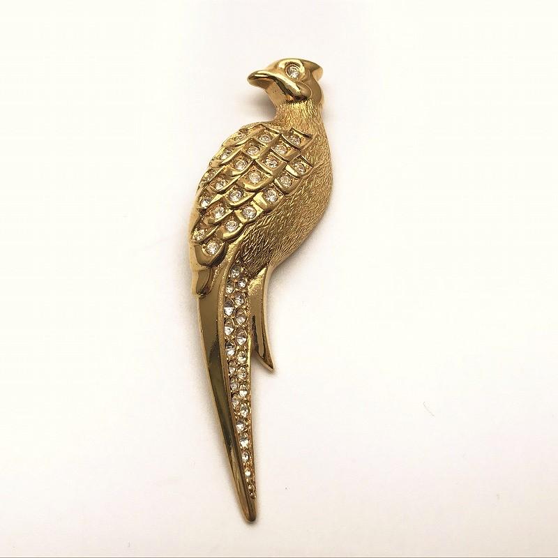 ◆[USED/中古]◆送料無料◆Christian Dior クリスチャン ディオール:ヴィンテージ 鳥ブローチ ラインストーン×バード×とり×ゴールド GP◆ 【中古】◆