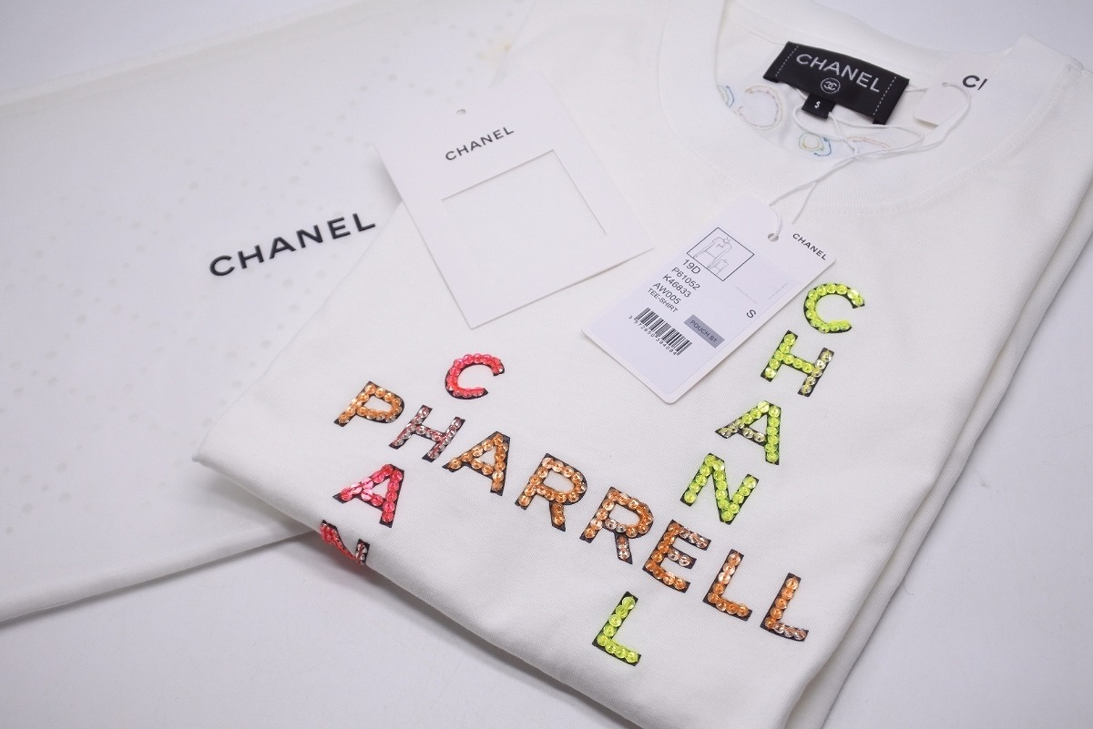 competitive price 81dcc 847b2 ◆It is ◆◆ Chanel CHANEL [USED/ new article-free]: White Chanel Farrell ◆  with CHANEL X PHARRELL WILLIAMS collaboration unisex T-shirt small size ...