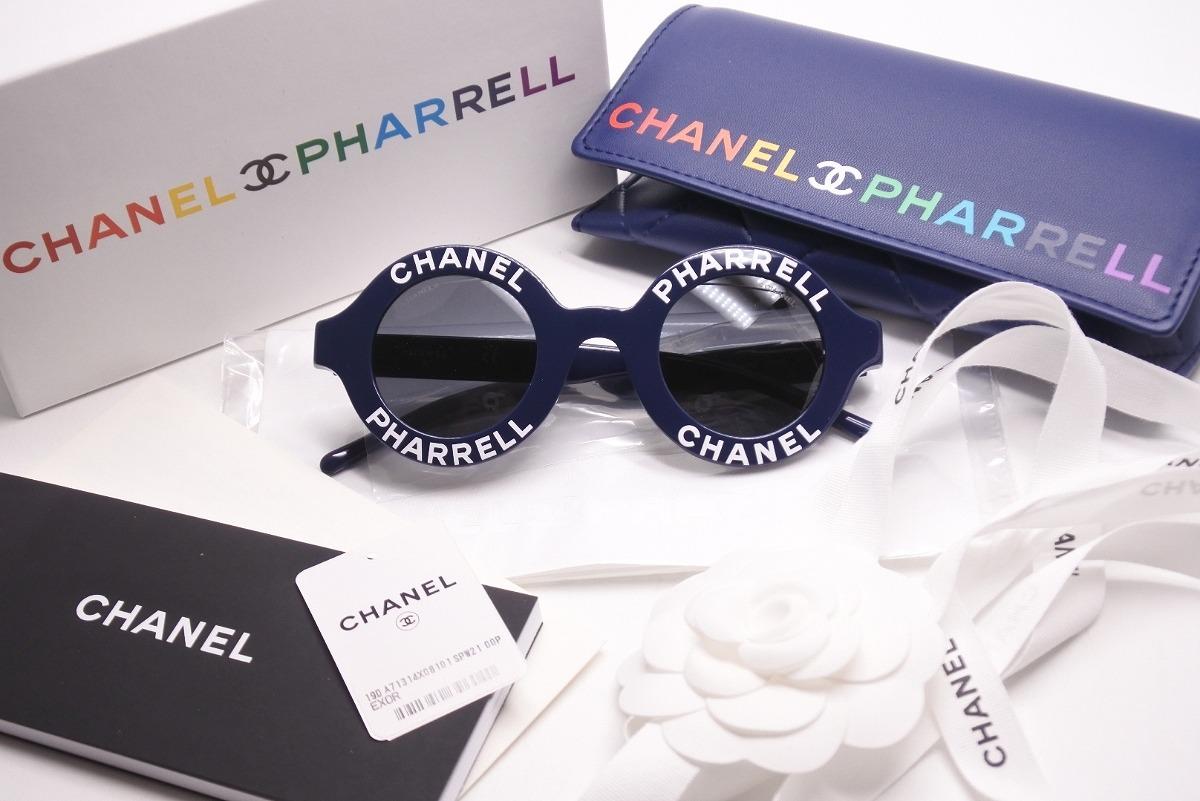 ◆[USED]◆送料無料◆シャネル CHANEL :CHANEL PHARRELL シャネル ファレル サングラス カプセルコレクション 19ss round sunglasses ネイビー◆【中古】◆
