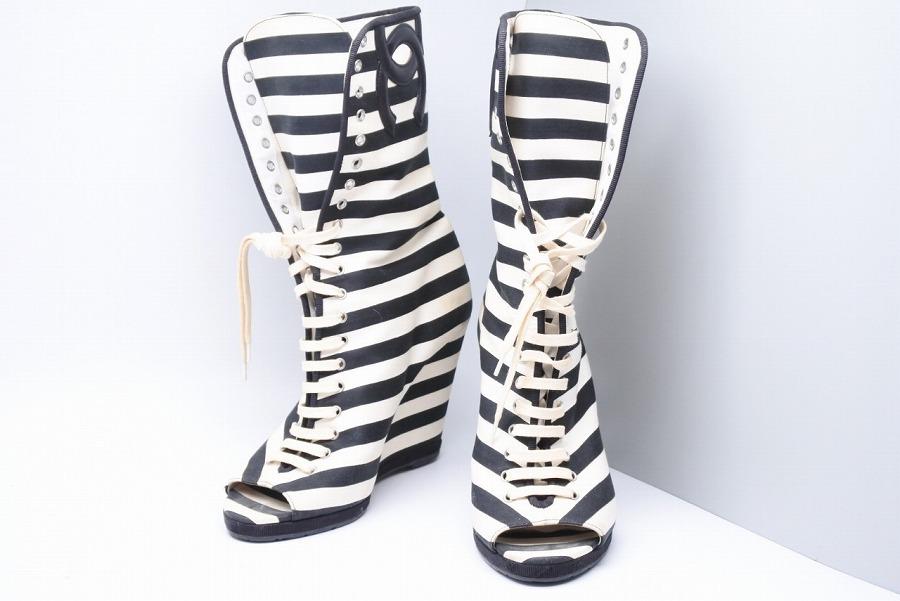 ◆[USED/中古]◆送料無料◆シャネル CHANEL ボーダー オープントゥ ブーツサンダル 38 ココマーク ブラック ホワイト【RCP】【中古】