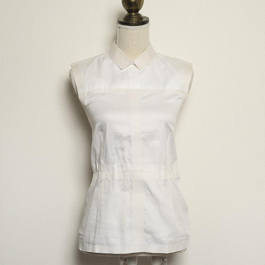 ◆[USED/中古]◆送料無料◆CELINE セリーヌ ノースリーブシャツ レディース ホワイト コットン 40  【中古】