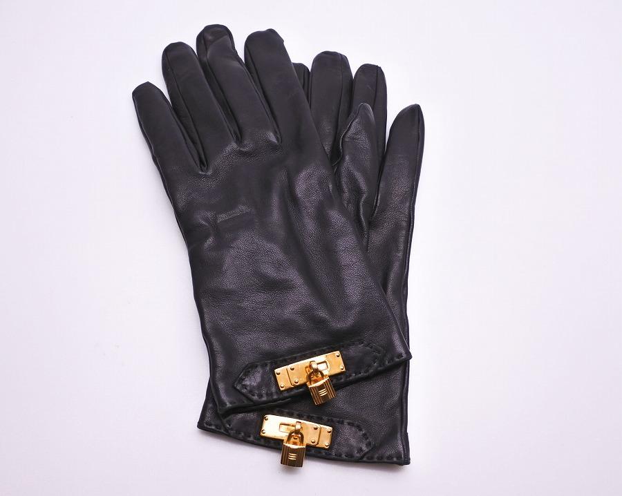 ◆[USED/中古]◆送料無料◆HERMES エルメス カデナチャーム ケリー金具 手袋 グローブ ブラック 黒 ゴールド 8 レザー ラムスキン 革手袋/レディース【中古】