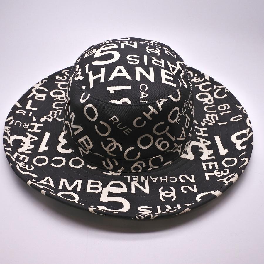 ◆[USED/中古]◆送料無料◆シャネル CHANEL :シャネル ココマーク 総ロゴ柄ハット ブラック×ホワイト つば有り 帽子(58)COCO NO.5 PARIS ココマーク◆ 【中古】◆