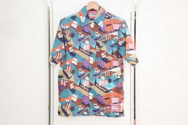 ◆[USED/中古品]◆送料無料◆【美品】PRADA プラダ 16年 半袖 シャツ アロハシャツ XS メンズ 船 マルチカラー 美品 19080