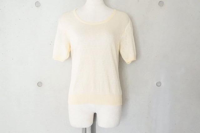 ◆[USED/中古品]◆送料無料◆【美品】Christian Dior ディオール Tシャツ トップス アイボリー 半袖ニット ヴィンテージ L 美品 18801