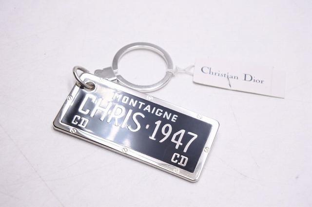 ◆[USED/中古品]◆送料無料◆【新同】Christian Dior ディオール キーホルダー チャーム ヴィンテージ シルバー ブラック MONTAIGNE 新品同様 18667