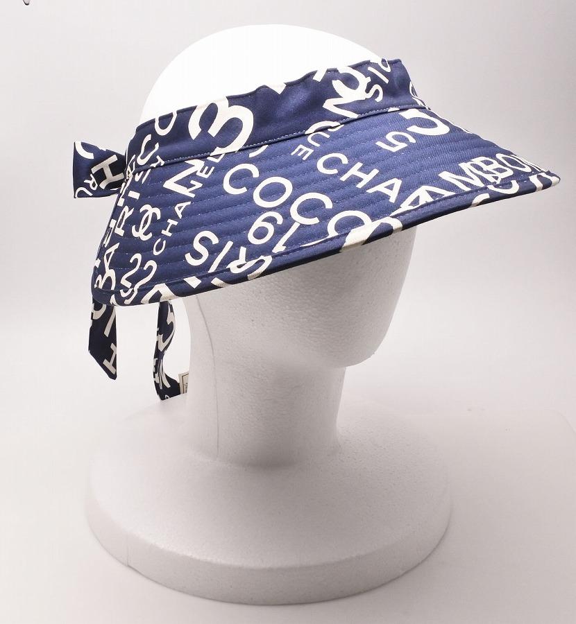 ◆[USED/中古]◆送料無料◆【未使用品】CHANEL シャネル バイシーライン サンバイザー ネイビー 総ロゴ柄 コットン レディース 帽子 サンバイザー 【中古】