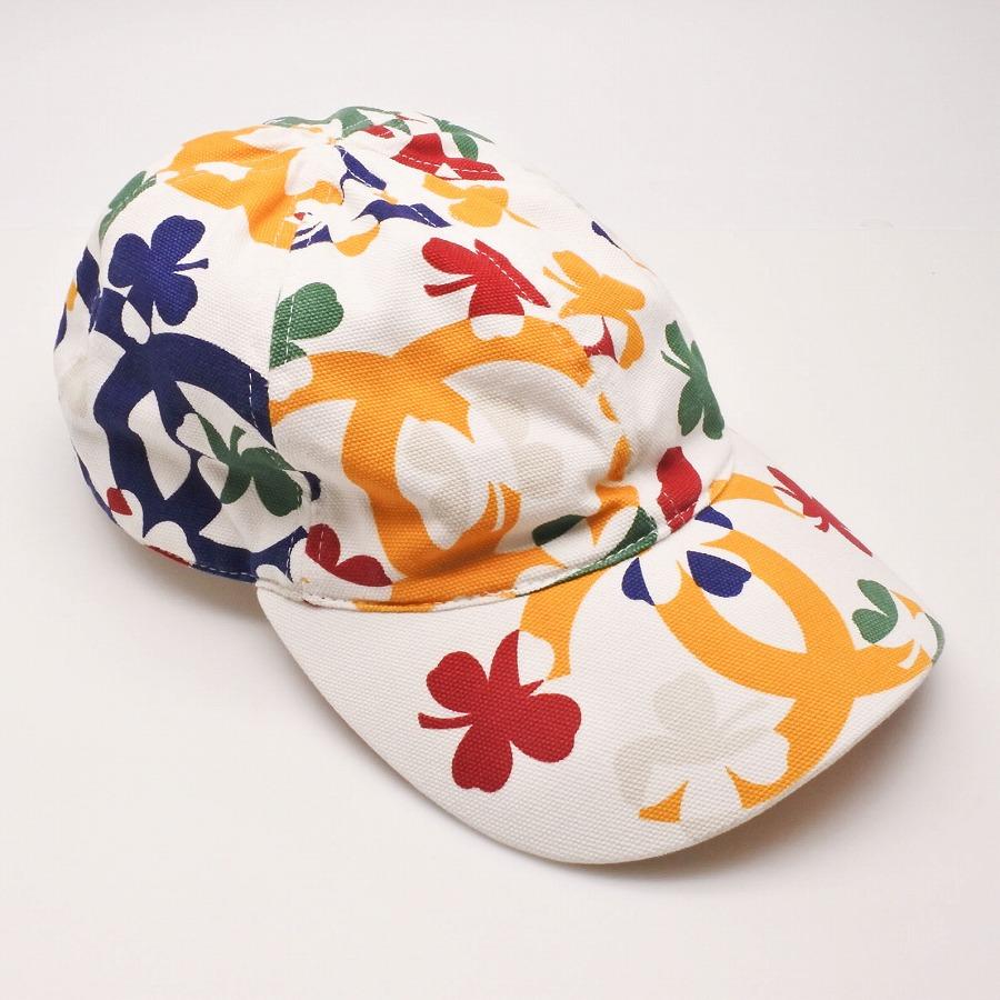 ◆[USED/中古]◆送料無料◆CHANEL シャネル クローバー柄キャップ ココマーク ホワイト マルチカラー M コットン レディース 帽子 キャップ 【中古】