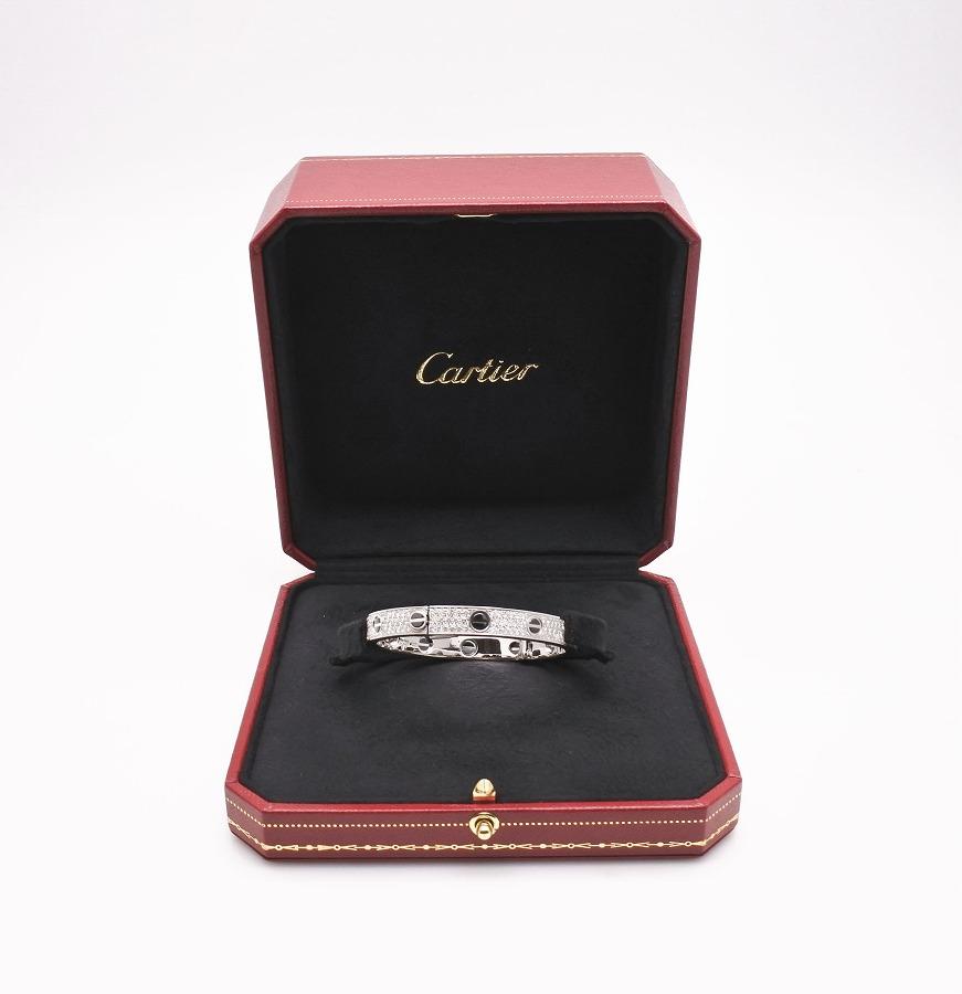 ◆[USED/中古品]◆送料無料◆【美品】カルティエ Cartier カルティエ ブレスレット K18WG ブラックセラミック ダイヤ フルダイヤ ラブブレス バングル #16 中古 新品仕上げ