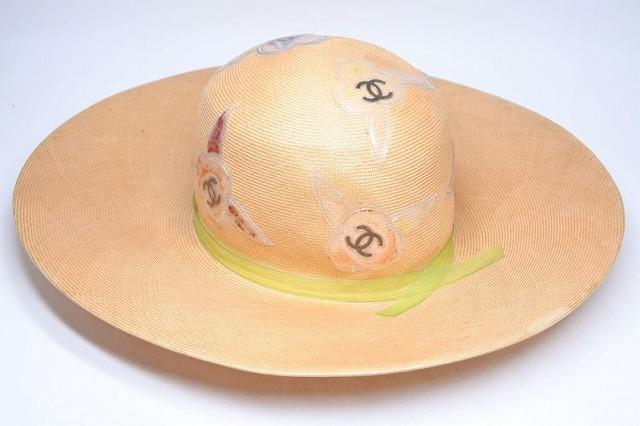 ◆[USED/中古]◆送料無料◆【中古】CHANEL シャネル ストローハット ヴィンテージ タグ付き 帽子 CAP ベージュ 希少 57 中古 正規品◆ 【中古】