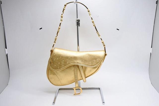◆[USED/中古]◆送料無料◆【美品】Christian Dior ディオール サドルバッグ ヴィンテー オーストリッチ ハンド ショルダー ゴールド ゴールド金具 美品【中古】