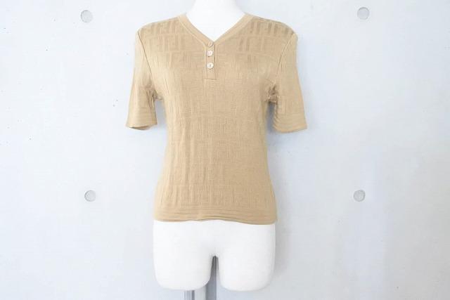 ◆[USED/中古]◆送料無料◆【美品】FENDI フェンディ Tシャツ ベージュ ヘンリーネック ヴィンテージ 40 ヴィンテージ 美品 19566【中古】