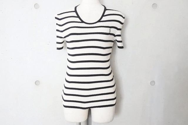 ◆[USED/中古]◆送料無料◆【美品】CHANEL シャネル ヴィンテージ 半袖ニット Tシャツ ボーダー 42 レディース ホワイト ブラック 美品 19751【中古】