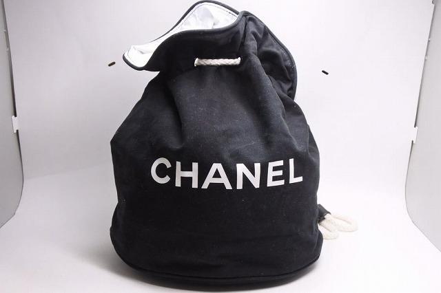 ◆[USED/中古]◆送料無料◆【美品】CHANELシャネル 巾着 リュック バックパック ブラック ホワイト ヴィンテージ キャンパス20211◆ 【中古】