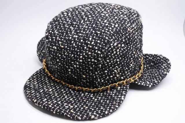 ◆[USED/中古]◆送料無料◆【中古】激レア CHANEL シャネル CAP 帽子 ツイード ブラック ホワイト ヴィンテージ チェーン付き 56 中古 20340◆ 【中古】