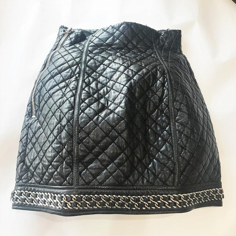 ◆[USED/美品] 送料無料◆バルマン/BALMAIN◆ミニスカート レザー×チェーン キルティング マトラッセ柄スカート ブラック 黒(36)◆ 【中古】◆