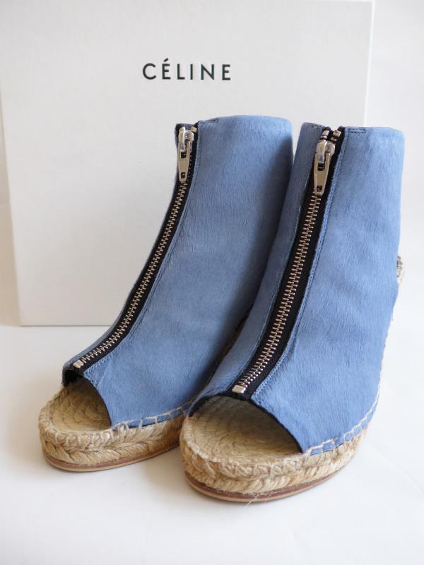 ◆[USED/美品] 送料無料◆セリーヌ CELINE :PONY PLUMBEO オープントゥ ウェッジソール サンダル 靴(ライトブルー)36◆ 【中古】