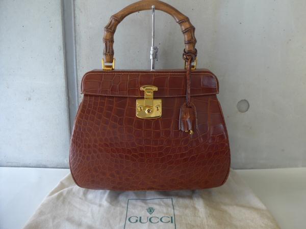 44bfad4f4a5 Warashibe  ◇ USED  ◇Gucci  gucci  Kelly type crocodile bamboo bag ...