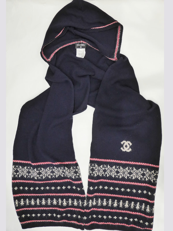 ◇ USED  ◇  Chanel CHANEL  Hooded cashmere scarf ECHARPE here mark is dark  blue ◇ 625ee7a75c09
