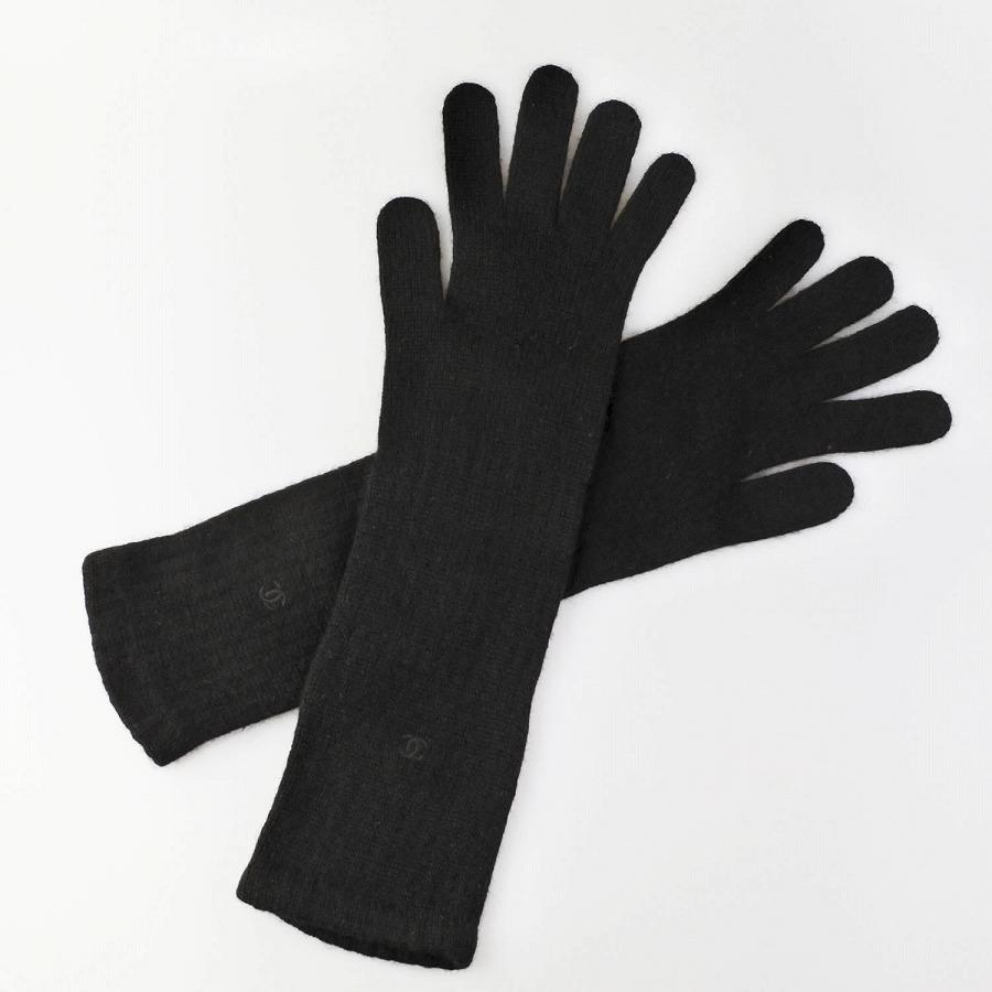◆[USED/中古]◆送料無料◆【美品】CHANEL シャネル ロングカシミア手袋 ココマーク ブラック 黒 レディース手袋/レディースグローブ【中古】