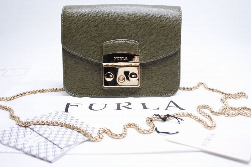 フルラ FURLA 卸直営 ショルダーバッグ メトロポリス チェーンショルダー SALVIA グレー タグ付き レザー 新品同様 中古 USED 送料無料 7458 新商品!新型